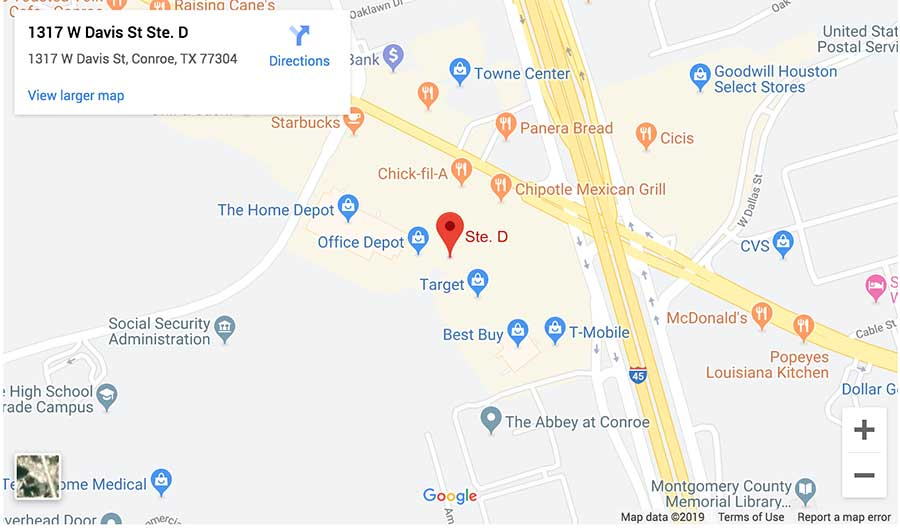 Lovett Dental Conroe map